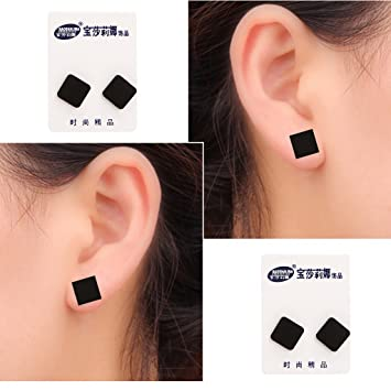 75a53f400 Cicitop 1 Pair 6-12mm Black Acrylic Magnetic Earrings Ear Stud Magnetic Non- Piercing
