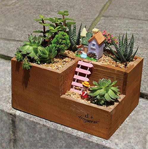 Mecai small woonden succulent planter box window Indoor House Cacti Flower Fairy Plants (Balcony Storage Box)