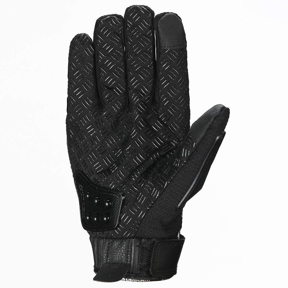 Steel Outdoor Reinforced Brass Knuckle Motorcycle Motorbike Powersports Racing Textile Safety Gloves Touch Screen, Medium