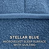 Furhaven Pet Dog Bed Cover | Micro Velvet Ergonomic Luxe Lounger Cradle Mattress Contour Pet Bed Replacement Cover for Dogs & Cats, Stellar Blue, Medium