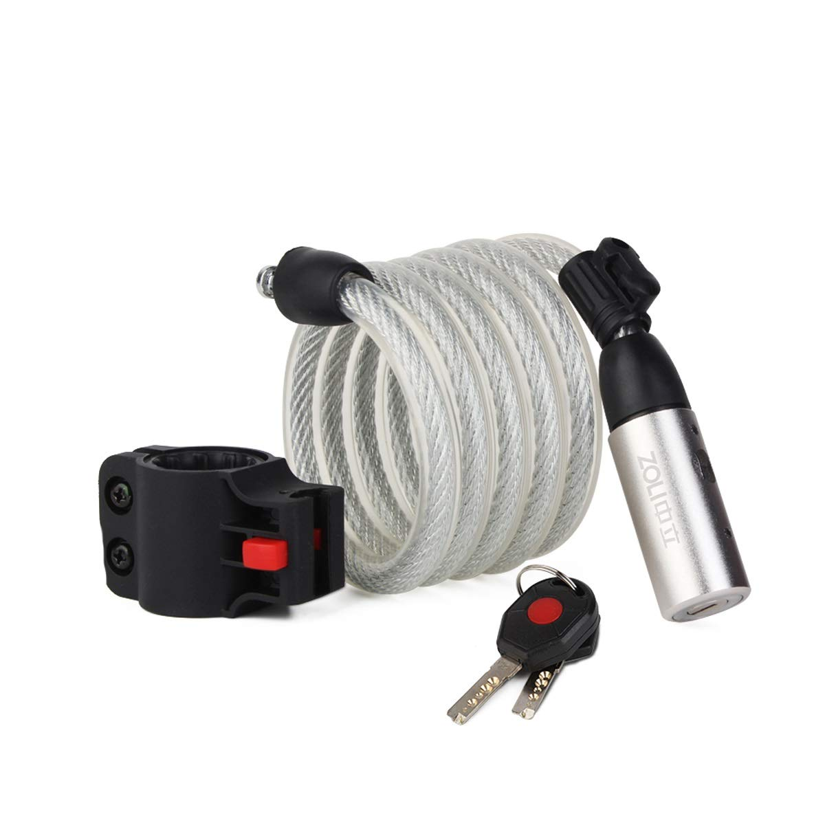 HUIJUNWENTI Bicycle Lock, Mountain Bike Anti-Theft Lock, Steel Cable Lock, Wire Lock, Road Bike Lock, Fixed car Lock, Bicycle Accessories, Black, White Safe and Reliable, (Color : White)