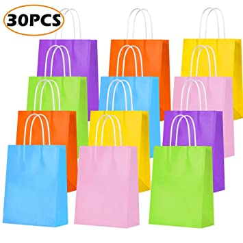 Amazon.com: Bolsas de regalo de papel Kraft para fiestas ...