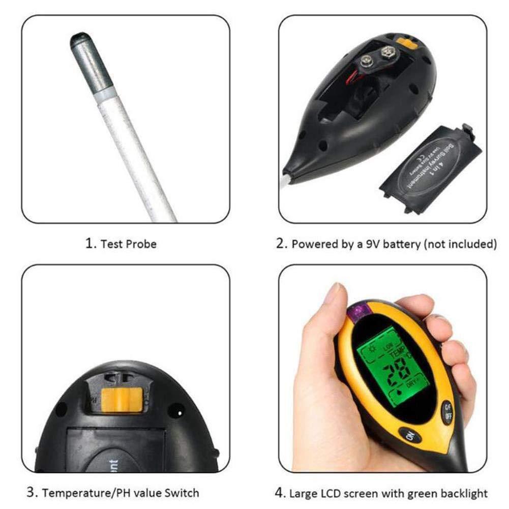 pH compteur hygrom/ètre de sol testeur de lumi/ère avec /écran LCD piles non incluses QQDEAL Testeur de sol multifonction 4 en 1 avec mesure de la temp/érature