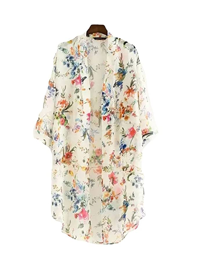 Victorian Nightgowns, Nightdress, Pajamas, Robes Akery Floral Chiffon Kimono Cardigan Blouse Beach Cover up $12.99 AT vintagedancer.com