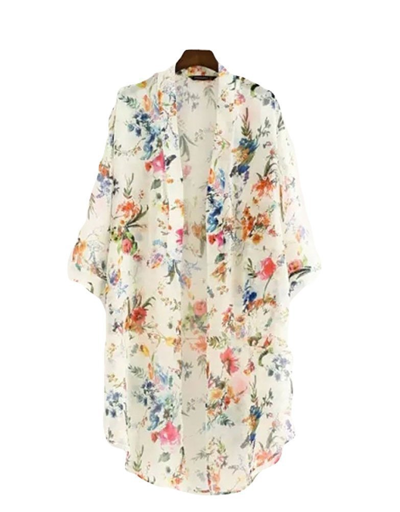 Akery Women's Floral Chiffon Kimono Cardigan Blouse Beach Cover up,Large,White
