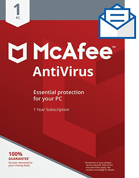 Amazon Mcafee Antivirus 1 Pc Activation Card By Mail Software