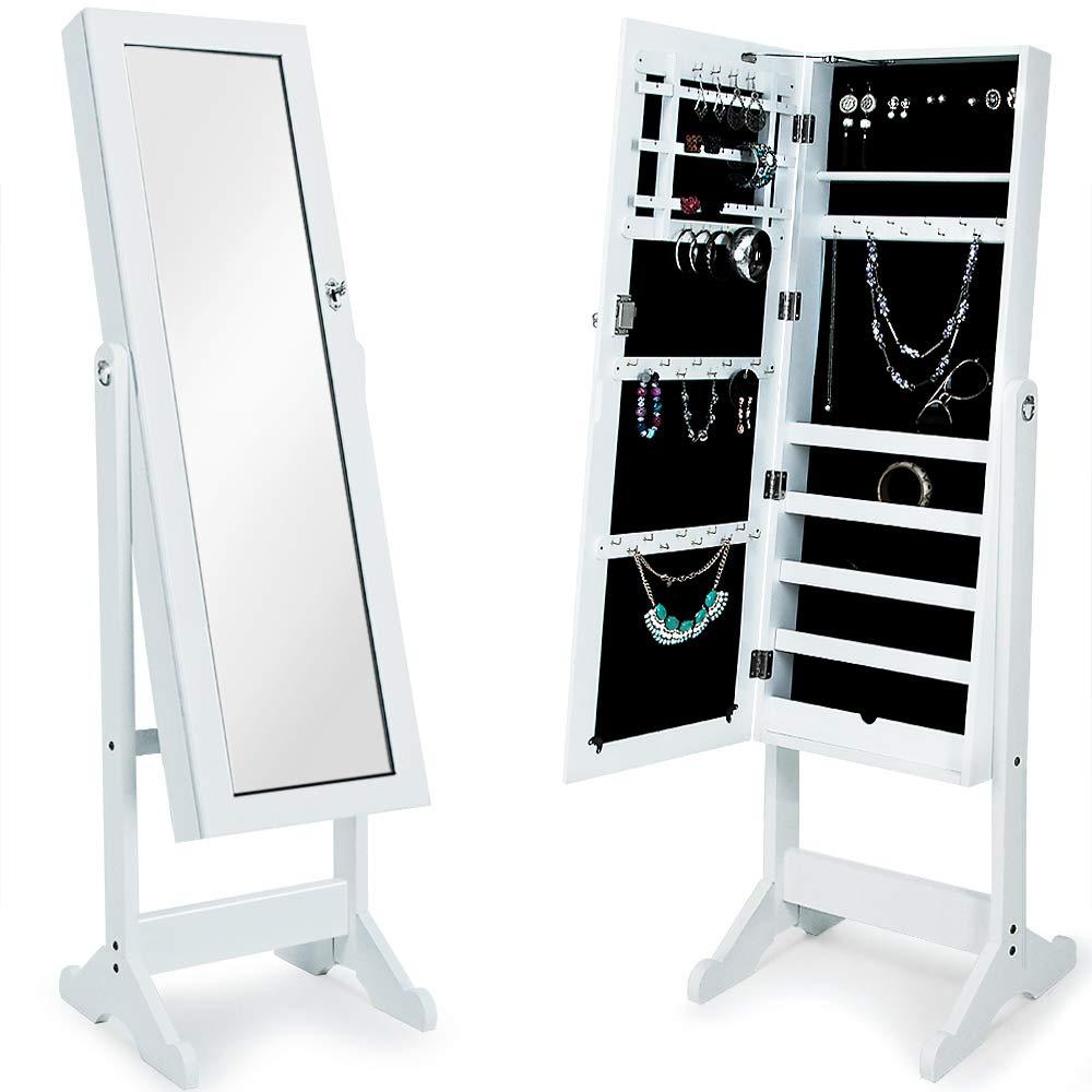 Deuba Armoire à bijoux avec miroir moderne blanche - Pivotable - Rangement stockage accessoires