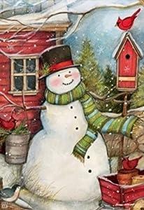 Breeze Art Red Barn Snowman Garden Flag Garden Flag 31434