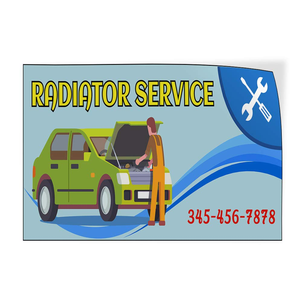 Custom Door Decals Vinyl Stickers Multiple Sizes Radiator Service Phone Number Blue Automotive Car Outdoor Luggage /& Bumper Stickers for Cars Blue 30X20Inches Set of 10