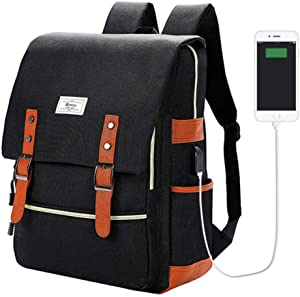Vintage Laptop Backpack College School Bag for Women Men 15.6'' Laptop Casual Rucksack Water Resistant School Backpack Daypacks with USB Charging Port (Black)