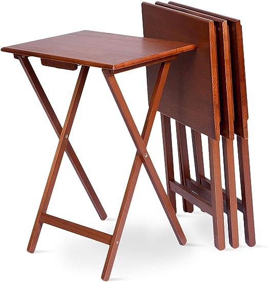 Goplus - Juego de 4 mesas Plegables y portátiles de Madera, Mesa Plegable de café, Mesa de jardín, 48 x 37 x 66 cm: Amazon.es: Jardín
