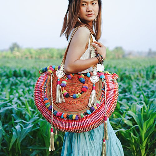 Changnoi Vintage Half Moon Beach Bag for Women with Hmong Embroidered, One of a Kind Pom Pom Hmong Bag, Boho Tote Bag, Bohemian Bag by ChangnoiBags