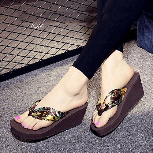 FEI Mules Soft skin-friendly silk Female summer slippery with slippers Thick bottom waterproof sandals Fashion personality sandals Sandals Casual (Color : 1004, Size : 35) 1003