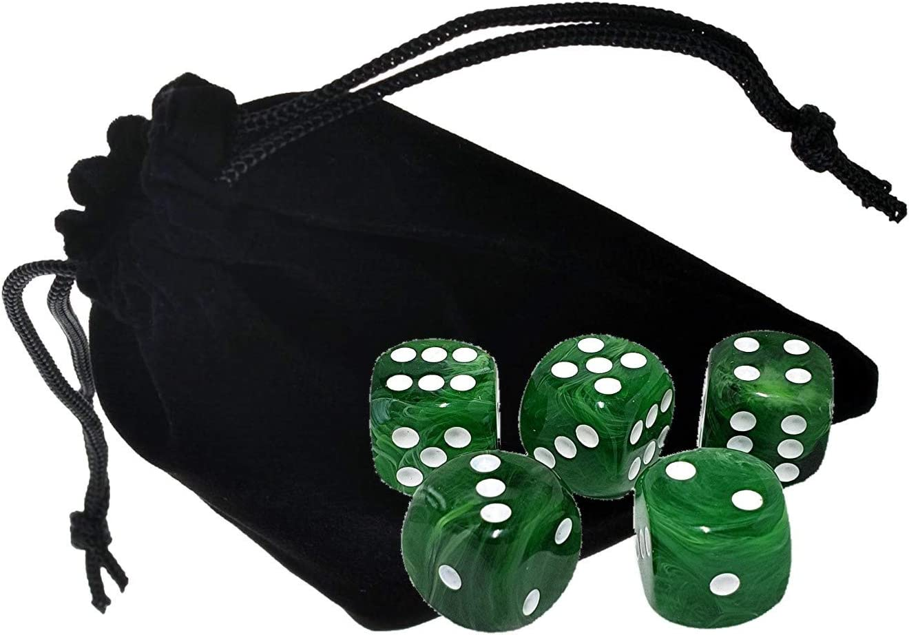Cyber-Deals Set of (5) 16mm Deluxe High Qualilty Acrylic 6-Sided Round Cornered Swirl Dice with Black Velvet Cloth Pouch Bag 61vMpSXeO-L