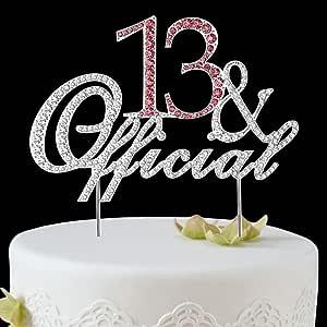 BABEYOND Rhinestone Crystal Happy Birthday Decoration Cake Topper Pick for Birthday Party Supplies (13yrs-silver)