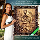 41'' Fortune and the beggar 104cm Wood carving 3D painting icon orthodox art frame