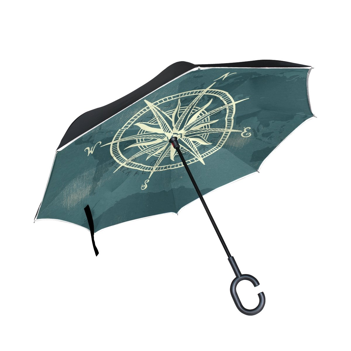 LEISISI Compass On World Map Reverse Umbrella Inverted Double Layer Windproof UV Protection Reverse Folding Umbrellas Inverted Umbrella Travel Umbrella with C Shaped Handle