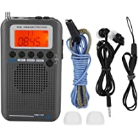 Diyeeni Récepteur Radio Full Band FM/SW/AM/CB/VHF/Bande Aviation, Mini Radio Multifunctionnel, Radio Portable Rechargeable avec Réveil, Haut-Parleur, Casque, Affichage LCD, Antenne Externe, Cordon