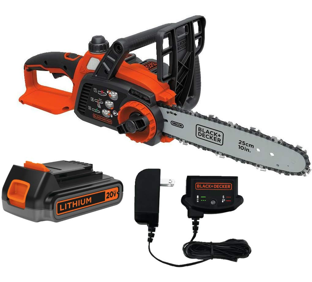 Black + Decker LCS1020 20V MAX 2.0 Ah Cordless Lithium-Ion 10 in. Chainsaw Kardin
