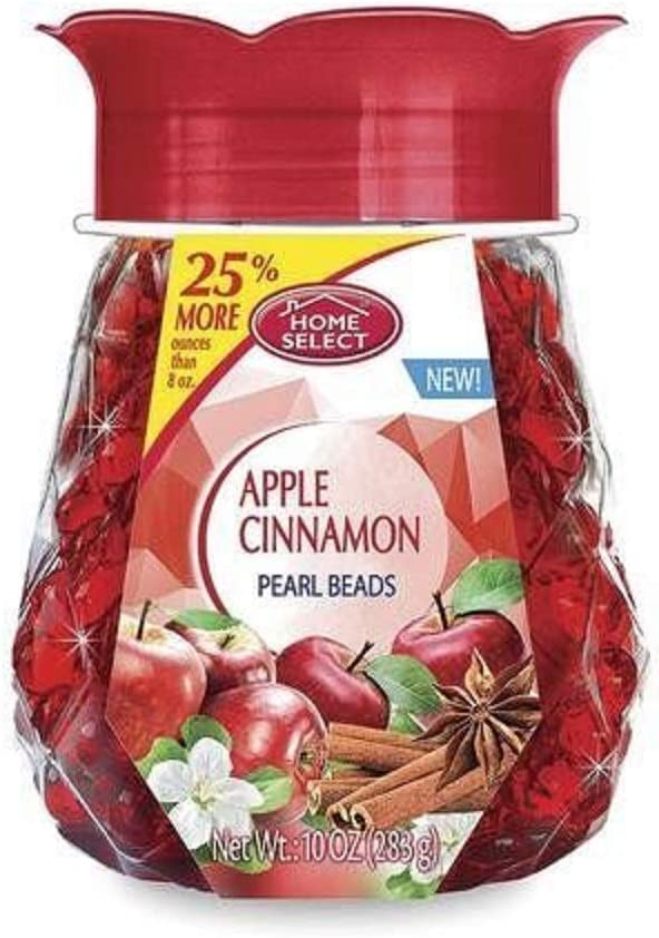 Home Select Gel Pearl Beads Air Freshener Apple Cinnamon - Eliminates Odors - Made with Natural Essential Oils - 10 Oz. Each (Pack of 6)