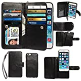 iPhone 6 Plus Case, xhorizon ™ Premium Leather Folio Case [Wallet Function] [Magnetic Detachable] Fashion Wristlet Lanyard Hand Strap Purse Soft Flip Book Style Multiple Card Slots Cash Compartment Pocket with Magnetic Closure Case Cover Skin ZA5 for iPhone 6 Plus (5.5'')- Black