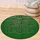 VROSELV Custom carpetDigital Computer Art Backdrop with Circuit Board Diagram Hardware Wire Illustration for Bedroom Living Room Dorm Emerald Fern Green Round 34 inches