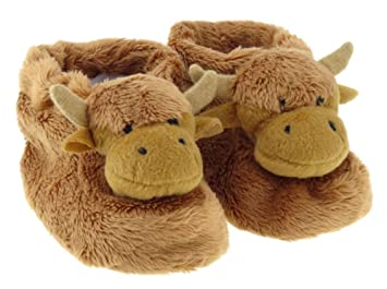 799c5ea40fc95 Cute Brown Scottish Highland Cow Toddler Baby Slipper Boots Bootees with  Anti Slip Soles - Baby Sizes