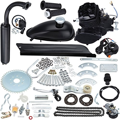 2 Stroke Gas Engine (Iglobalbuy Bicycle Engine Kit 2-Stroke Cycle Petrol Gas Motor Engine Kit for Motorized Bicycle 26