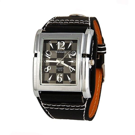 Womage red cuadrada de reloj del cuero genuino unisex de los relojes del reloj de vestir ocasionales de la manera: Amazon.es: Relojes