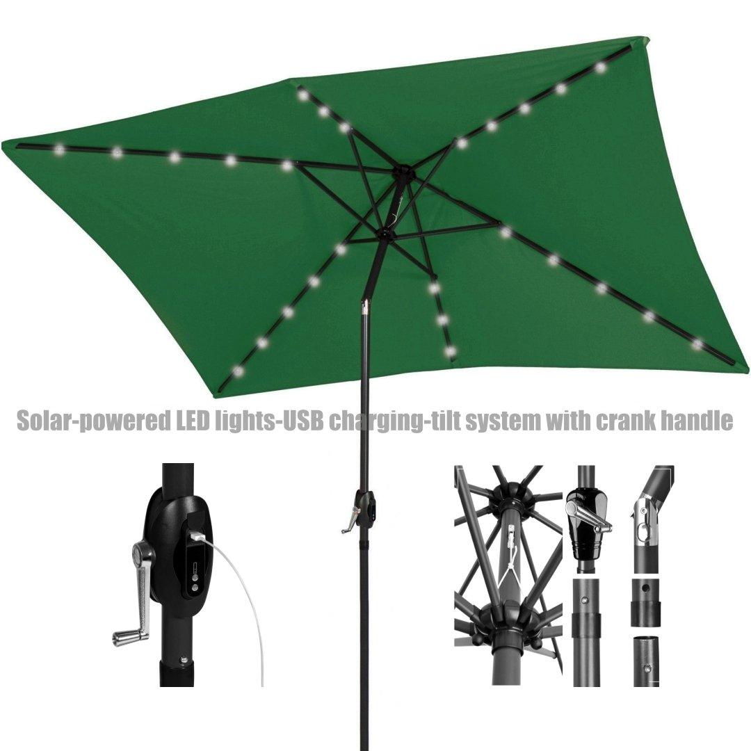 New Patio Outdoor 10' x 6.5' UV Blocking Tilt & Crank Handle Sunshade Umbrella With Solar-Power LED lights-USB charging port-Portable Power Bank/ Green #971