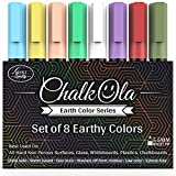 Chalk Markers - Pack of 8 Liquid Earth Colour Pen - Use on Chalkboard, Blackboard, Whiteboard, Window, Bistros Glass - Wet Wipe Erasable - 6mm Reversible Bullet & Chisel Tip