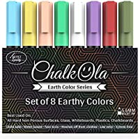 Kreidestifte - Packung mit 8 erdfarbenen Markern - Benutzung auf Whiteboard, Kreidetafel, Fenster, Tafel, Bistrogläsern - 6 mm Stiftspitze
