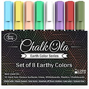 Chalkboard Chalk Markers - Pack of 8 Classic Earth Color pens   Dust Free Water-Based Non-Toxic   Wet Erase Chalk Ink Pen - 6mm Reversible Bullet & Chisel Tip