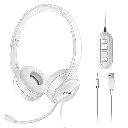Mpow Auriculares con Micrófono y Cable de 2,4 Metros, Auriculares USB de Reducción de Ruido, Compatible con XBOX, VoIP, Skype, Moviles Iphone Android ...