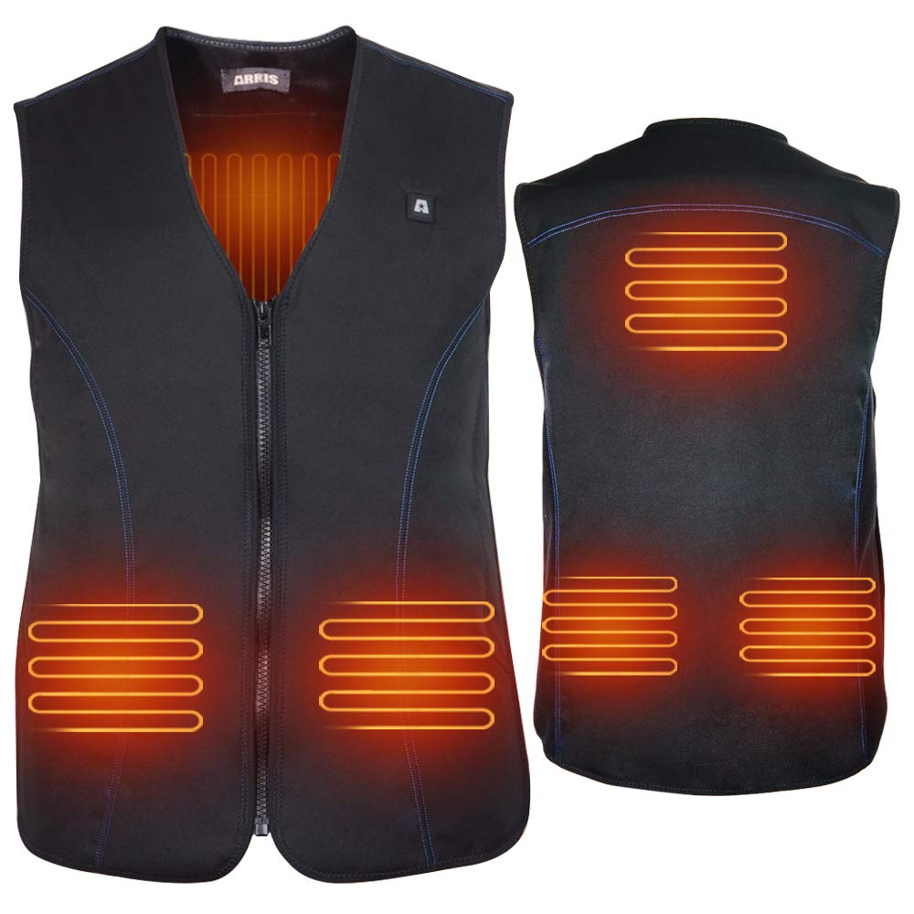 ARRIS USB Electric Heated Vest, 5V Size Adjustable Women Men Rechargeable Heated Clothing for Fishing Hunting Hiking Camping Black by ARRIS
