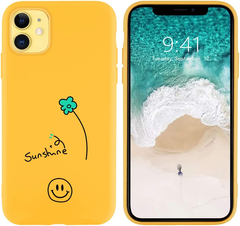 JOYLAND Smile Phone Case for iPhone XR Yellow Silicone Cover Sunshine Floreal Little Flower Cover Full Protective Soft Rubber Case Compatible for iPhone XR
