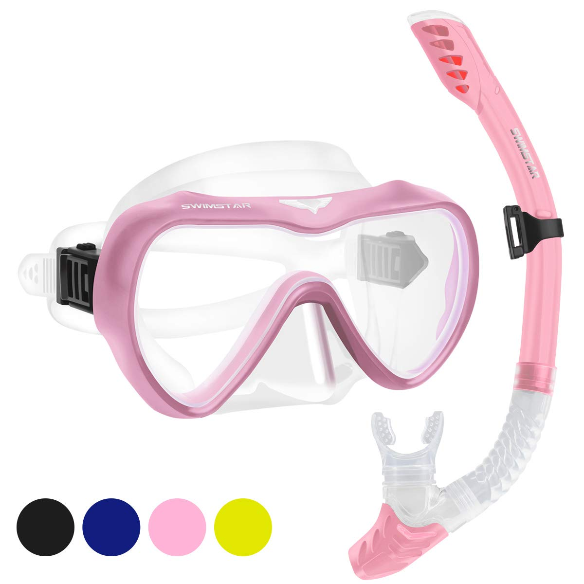 2019 Snorkel Set for Women and Men, Anti Fog Tempered Glass Snorkel Mask for Snorkeling, Swimming and Scuba Diving, Anti Leak Dry Top Snorkeling Gear Panoramic Silicone Goggle No Leak Pink by SwimStar
