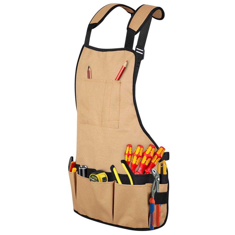 Syntus Professional Work Apron with Pockets Durable Waterproof Adjustable Tool Apron Gardening Woodshop Aprons with Pouches for Men, Women, Carpenters, Machinists