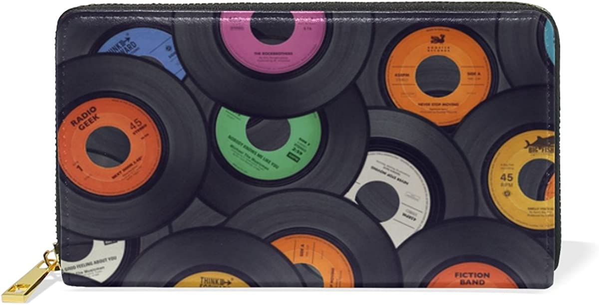 Women Genuine Leather Wallet Purse Vinyl Records Music Print Card Holder Organizer Clutch
