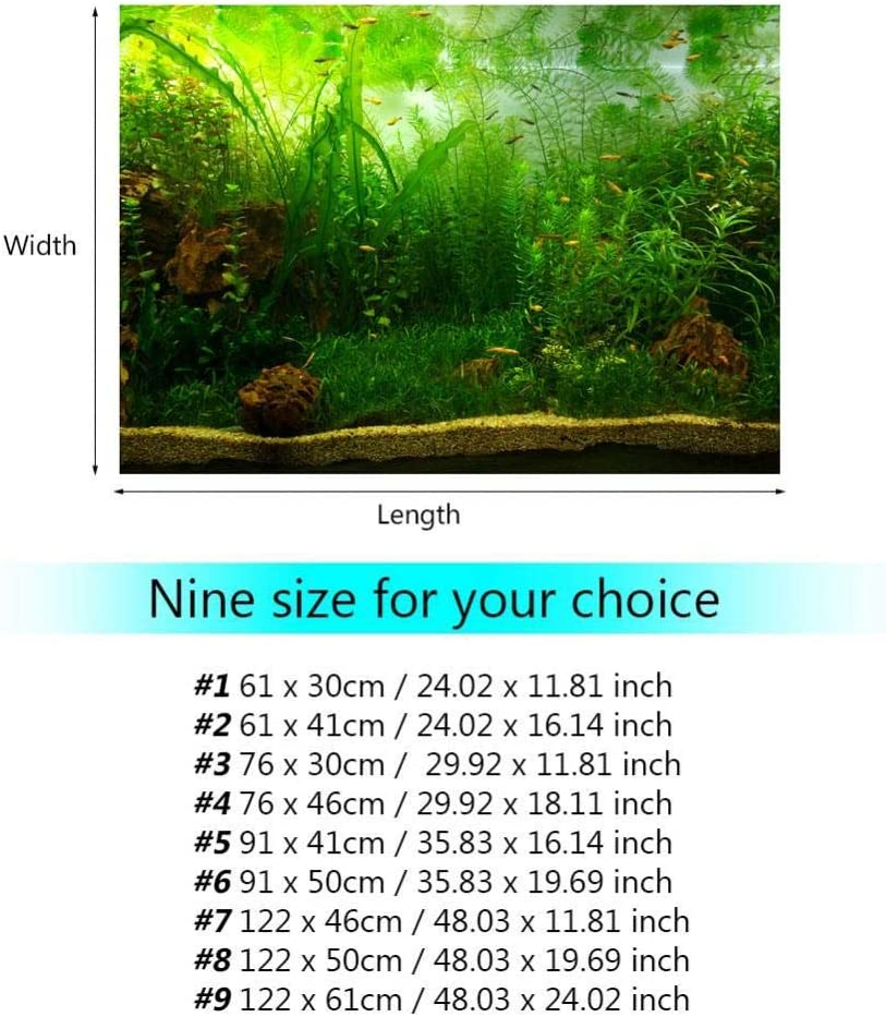 Aquarium Background Fish Tank Decorations Pictures PVC Adhesive Poster Water Grass Style Backdrop Decoration Paper Cling Decals Sticker 12261cm