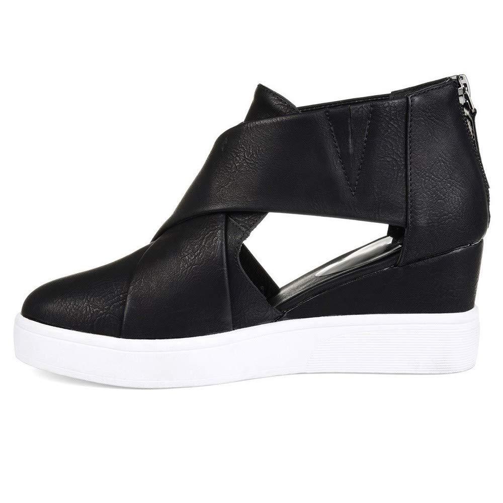 Kauneus  Women's Concise Criss-Cross Cut-Out Wedge Sneakers Comfortable Back Zipper Shoes Black by Kauneus Fashion Shoes (Image #2)