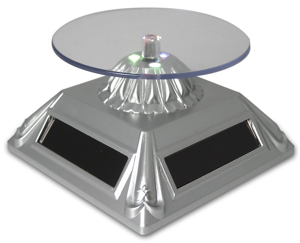 Banberry Designs Solar Powered Turntable Rotating Merchandise Display Stand Base, LED Lighted, Silver, Clear Round Top, Color Changing Lights