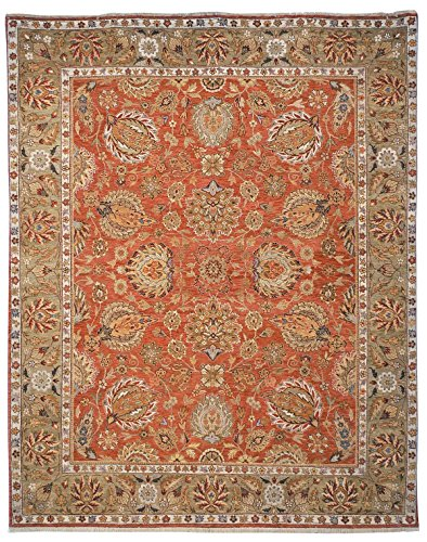 Safavieh Old World Collection OW117A Hand-Knotted Traditional Oriental Copper and Green Wool Round Area Rug (8' Diameter)