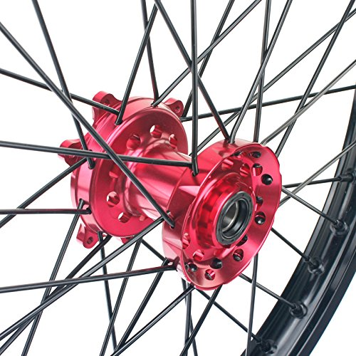 TARAZON 21'' 18'' Off-road Complete Wheel Set Rims Spokes Red Hubs for Honda CRF250R 04-13 CRF450R 04-12 CRF 250X 450X 04-16 by TARAZON (Image #5)