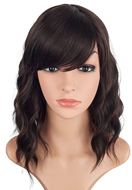 14inch Short Wavy Wigs For Black Women Black Mix Brown Synthetic Curly Hair Wigs With Bangs Shoulder Length Wavy Wigs Heat Resistant Wigs For Party
