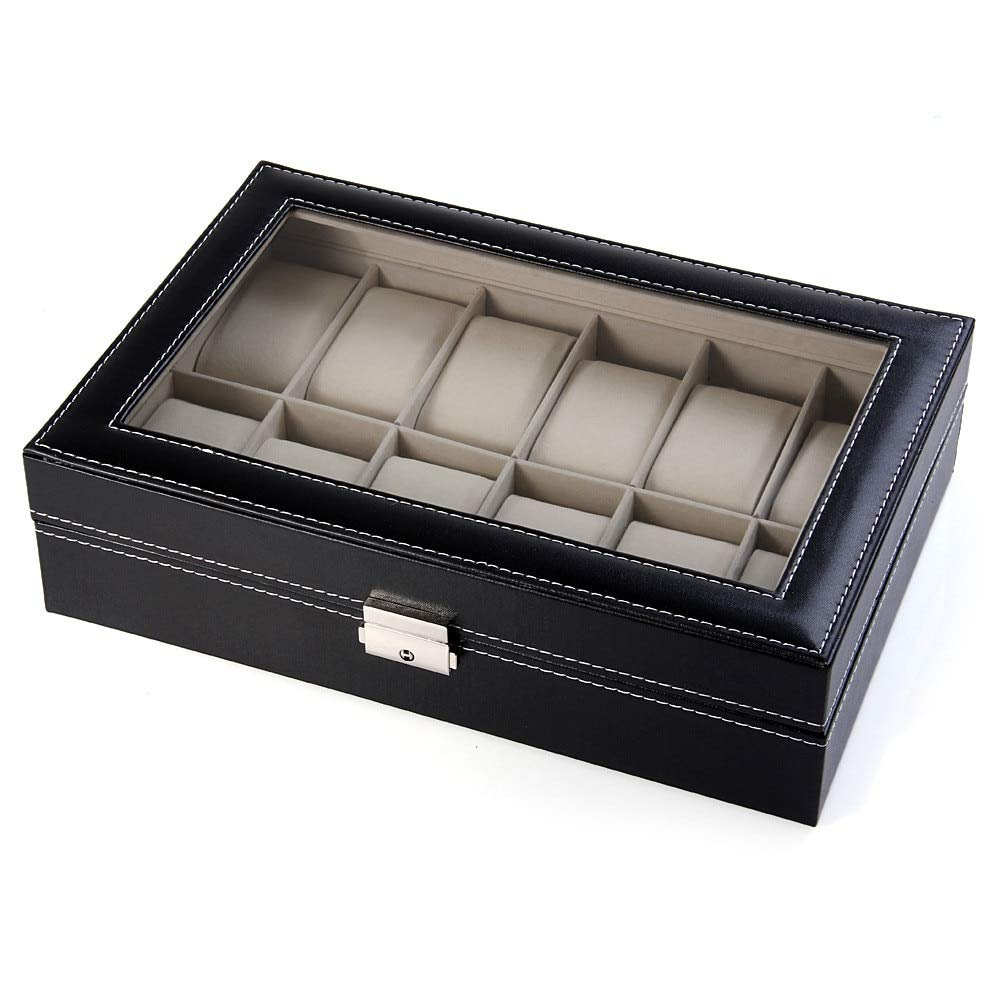 Amazon.com : Storage Boxes & Bins - Davitu 12 Grids Watch Display Case PU Leather Jewelry Storage Box Organizer Watch Box Watch Case cajas para relojes : ...