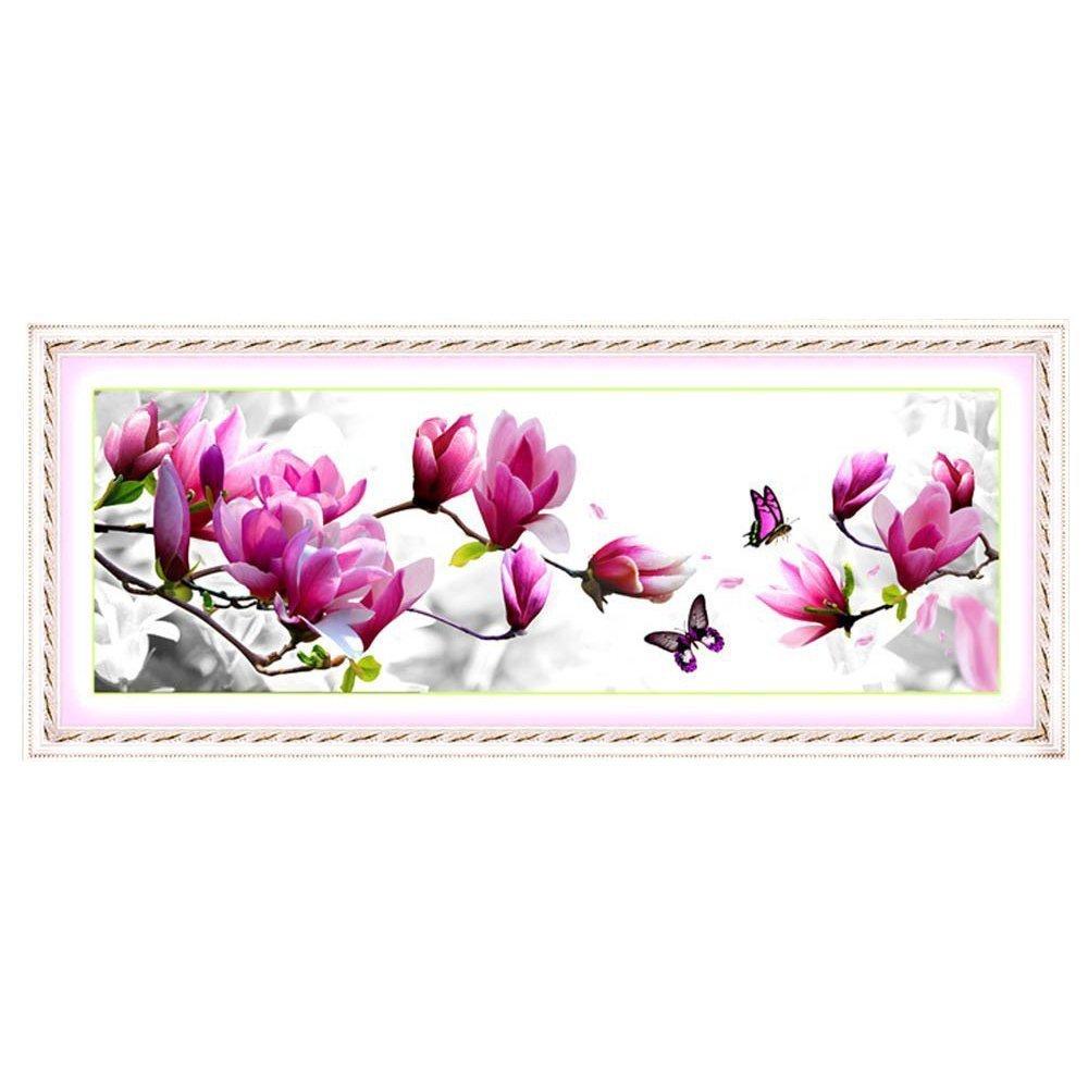 SODIAL(R) DIY Handmade Ricamo Punto Croce Set ricamo Kit Elegante modello rosa Magnolia progettazione 3D Cross-Stitching 124 * 48 centimetri Home Decoration TRTA11A
