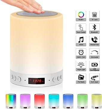 5 EN 1 Lampe de Chevet Tacile Rechargeable Portable,JOLVVN Lampe de Table Enceinte Bluetooth Musique USB FM Radio Réveil Numérique Lumière LED