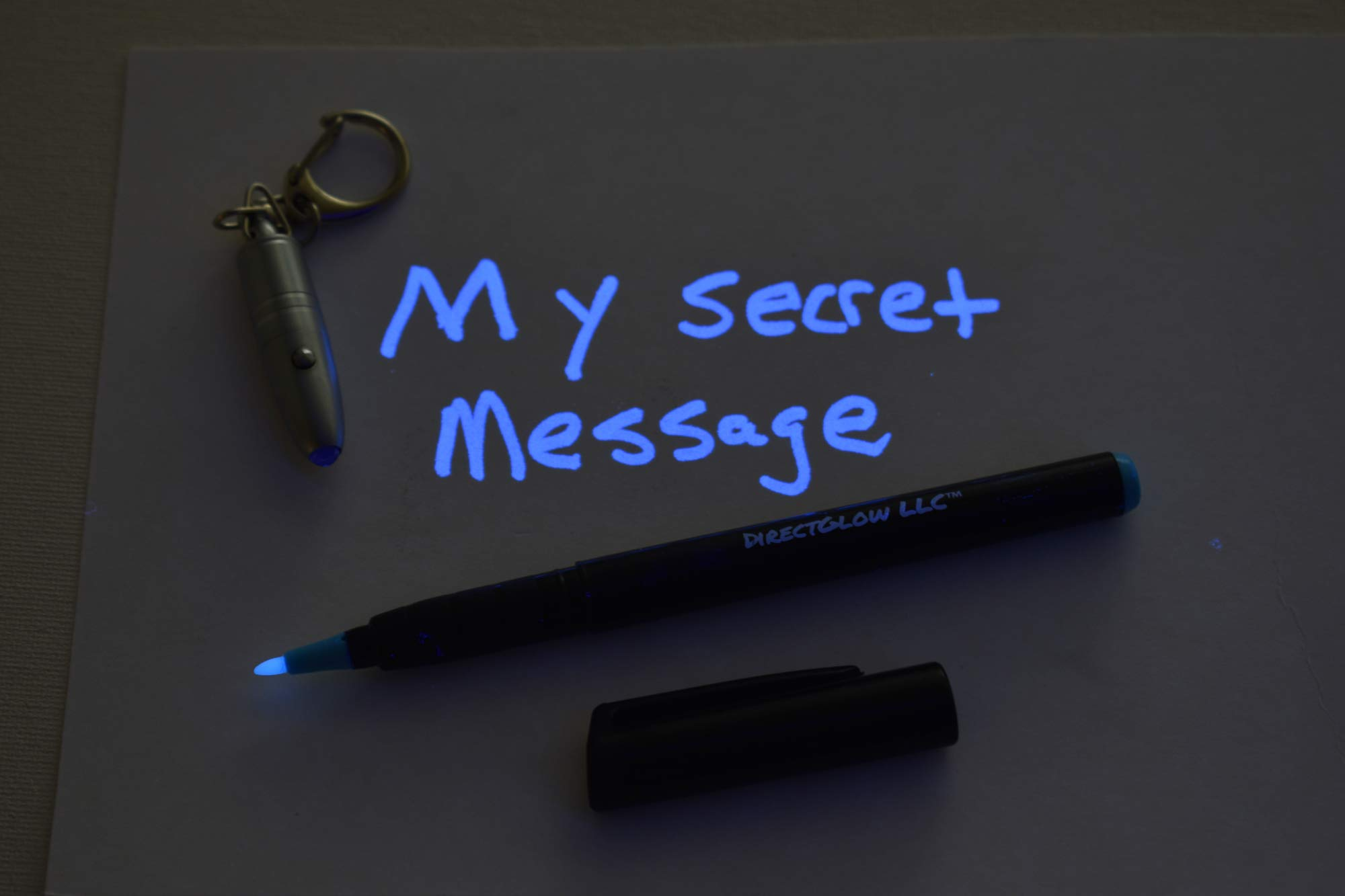 DirectGlow Invisible UV Ink Marker Pen with Metal Bullet LED Blacklight