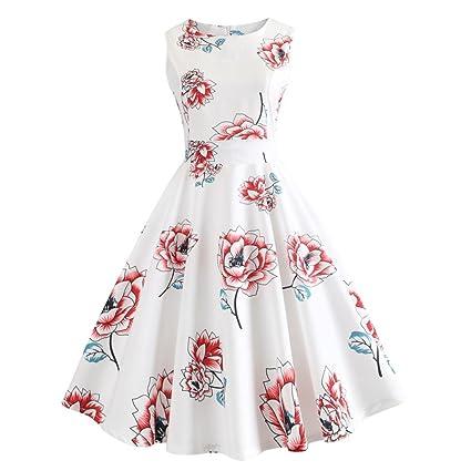 Vestido de mujer sin mangas con estampado floral – Saihui 60s Vintage Audrey Hepburn estilo Flare
